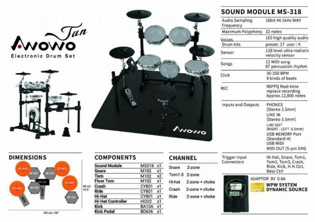 F3A Awowo電子鼓 JUN-2 電子鼓 台灣製造 1